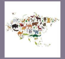 Eurasia Animal Map Simple Kids Tee