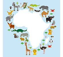 African White Map with Animals Photographic Print