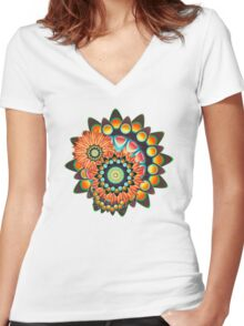 Happy Colorful Psychedelic Cool Funky Pattern Women's Fitted V-Neck T-Shirt