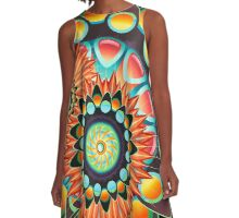 Happy Colorful Psychedelic Cool Funky Pattern A-Line Dress