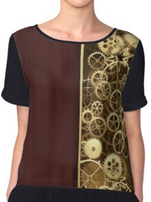 Steampunk Gears half wood Chiffon Top