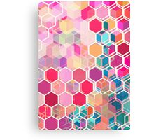Rainbow Honeycomb - colorful hexagon pattern Canvas Print