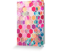 Rainbow Honeycomb - colorful hexagon pattern Greeting Card