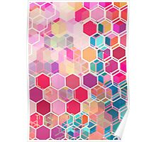 Rainbow Honeycomb - colorful hexagon pattern Poster