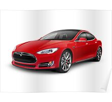 Tesla Model S red luxury electric car photo print Poster