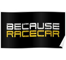 Because Racecar (grungy white and yellow text) Poster