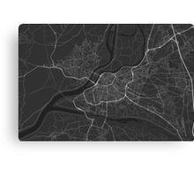 Avignon, France Map. (White on black) Canvas Print