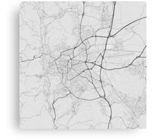 Clermont Ferrand, France Map. (Black on white) Canvas Print