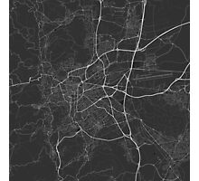 Clermont Ferrand, France Map. (White on black) Photographic Print
