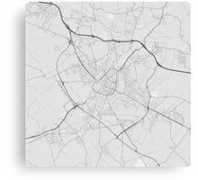 Douai, France Map. (Black on white) Canvas Print