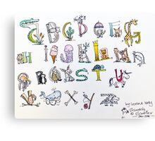 Animal inspired Alphabet Canvas Print