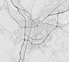 Grenoble, France Map. (Black on white) by Graphical-Maps