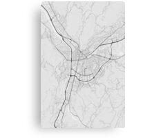 Grenoble, France Map. (Black on white) Canvas Print