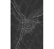 Grenoble, France Map. (White on black) Photographic Print
