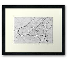 Lille, France Map. (Black on white) Framed Print