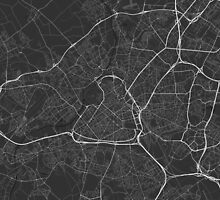 Lille, France Map. (White on black) by Graphical-Maps