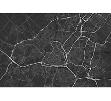 Lille, France Map. (White on black) Photographic Print