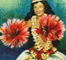Vintage 1964 Tahitian Dancer Postage Stamp Sticker