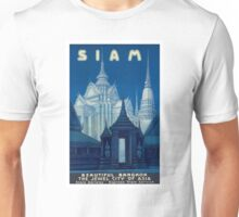 Antique Siam Bangkok Temples Travel Poster Unisex T-Shirt