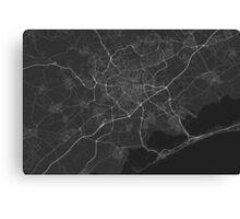 Montpellier, France Map. (White on black) Canvas Print