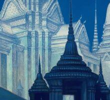 Antique Siam Bangkok Temples Travel Poster Sticker