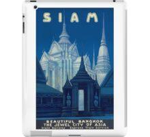Antique Siam Bangkok Temples Travel Poster iPad Case/Skin