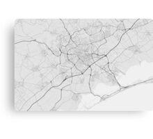 Montpellier, France Map. (Black on white) Canvas Print