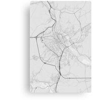 Nancy, France Map. (Black on white) Canvas Print