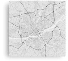 Nantes, France Map. (Black on white) Canvas Print