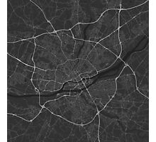 Nantes, France Map. (White on black) Photographic Print