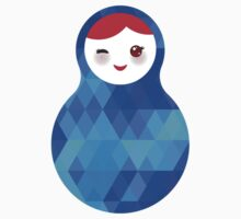 Blue Matryoshka Doll One Piece - Short Sleeve