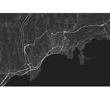 Nice, France Map. (White on black) Photographic Print