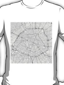 Paris, France Map. (Black on white) T-Shirt