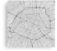 Paris, France Map. (Black on white) Canvas Print