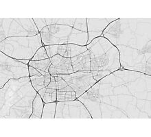 Rennes, France Map. (Black on white) Photographic Print