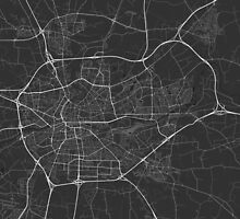Rennes, France Map. (White on black) by Graphical-Maps