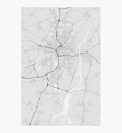 Strasbourg, France Map. (Black on white) Photographic Print