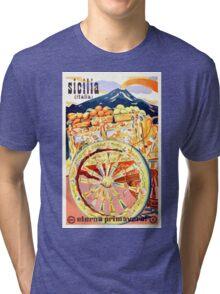 1947 Sicily Italy Travel Poster Eternal Spring Tri-blend T-Shirt