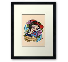 Snow White Day of The Dead Style Pink Background Framed Print