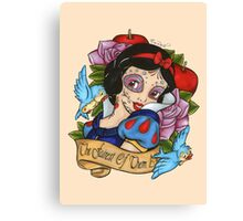 Snow White Day of The Dead Style Pink Background Canvas Print