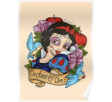 Snow White Day of The Dead Style Pink Background Poster