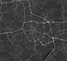 Bochum, Germany Map. (White on black) by Graphical-Maps