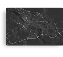 Bremen, Germany Map. (White on black) Canvas Print
