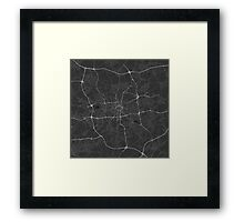 Dortmund, Germany Map. (White on black) Framed Print