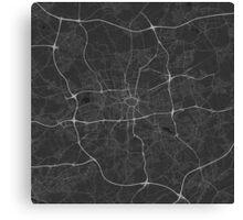Dortmund, Germany Map. (White on black) Canvas Print
