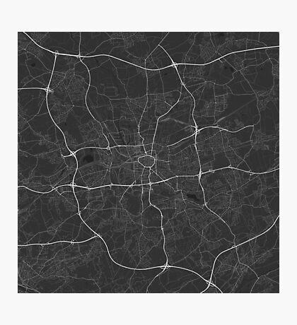 Dortmund, Germany Map. (White on black) Photographic Print