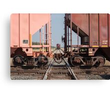 Train Crossing a Track With Another Train Waiting Canvas Print