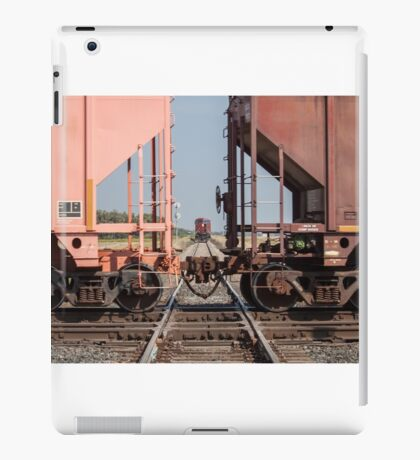 Train Crossing a Track With Another Train Waiting iPad Case/Skin