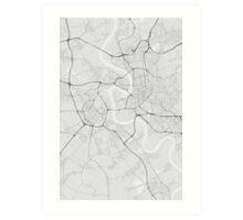 Dusseldorf, Germany Map. (Black on white) Art Print
