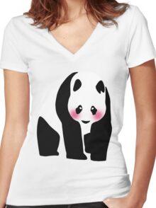 Pretty Panda Bear Women's Fitted V-Neck T-Shirt
